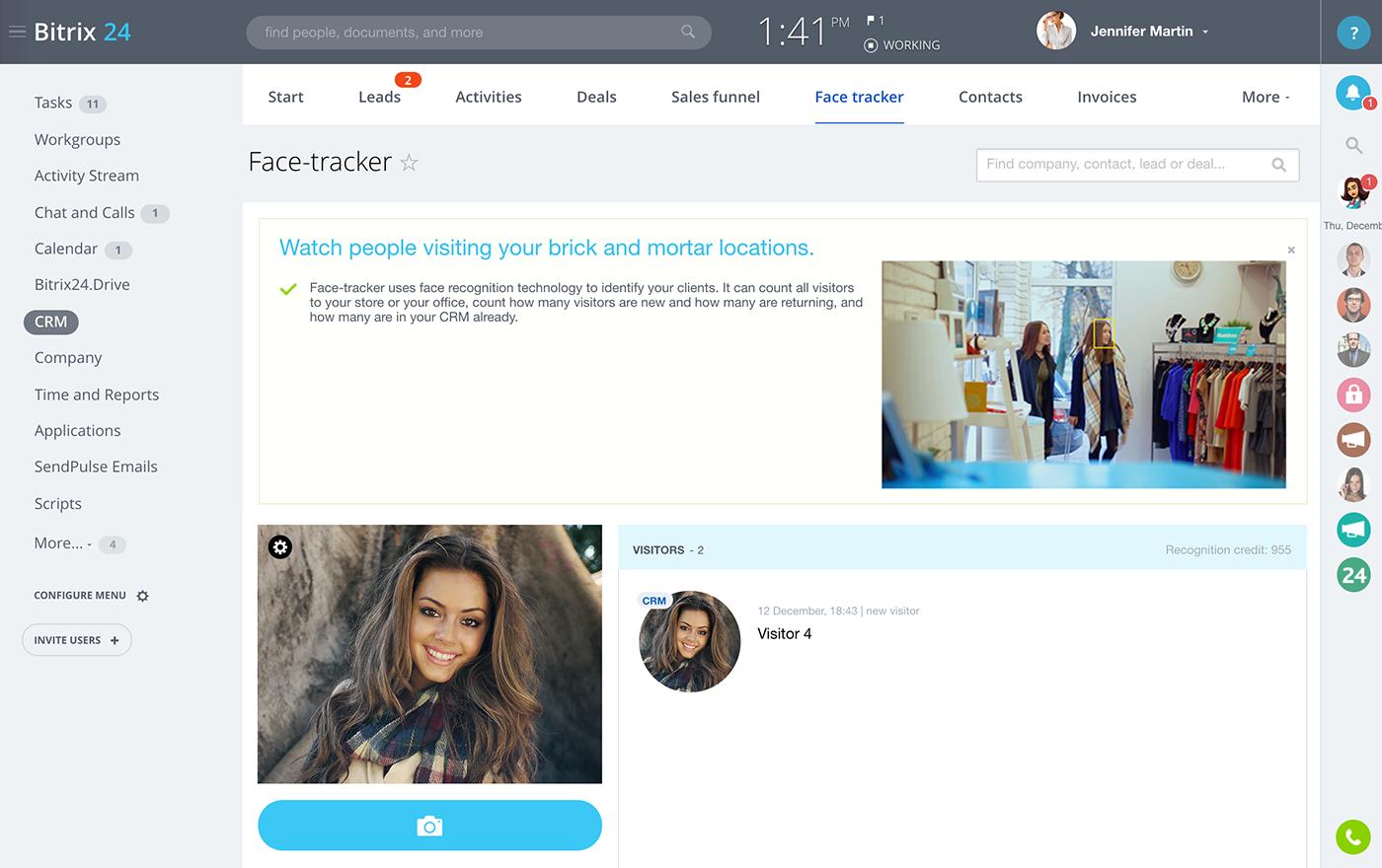 Face tracker от bitrix24 вебвизор не показывает корзину битрикс